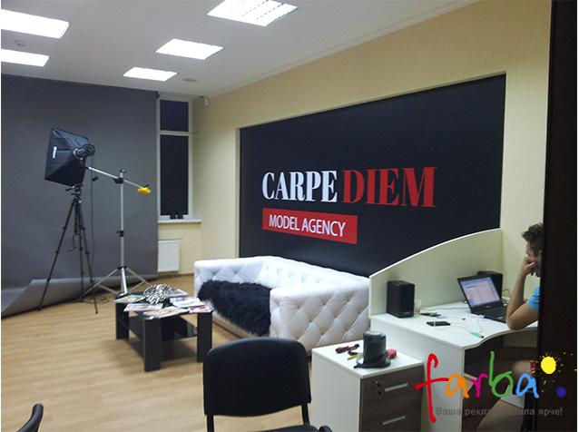 Банер, виготовлений за допомогою широкоформатного друку високої якості і змонтований на стіну. Він є фоном для фотографування в модельному агенстві.