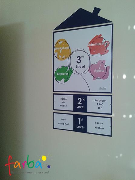 Пластиковий інформаційний стенд, що складається з чотирьох частин, закріплених на стіну за допомогою саморізів.