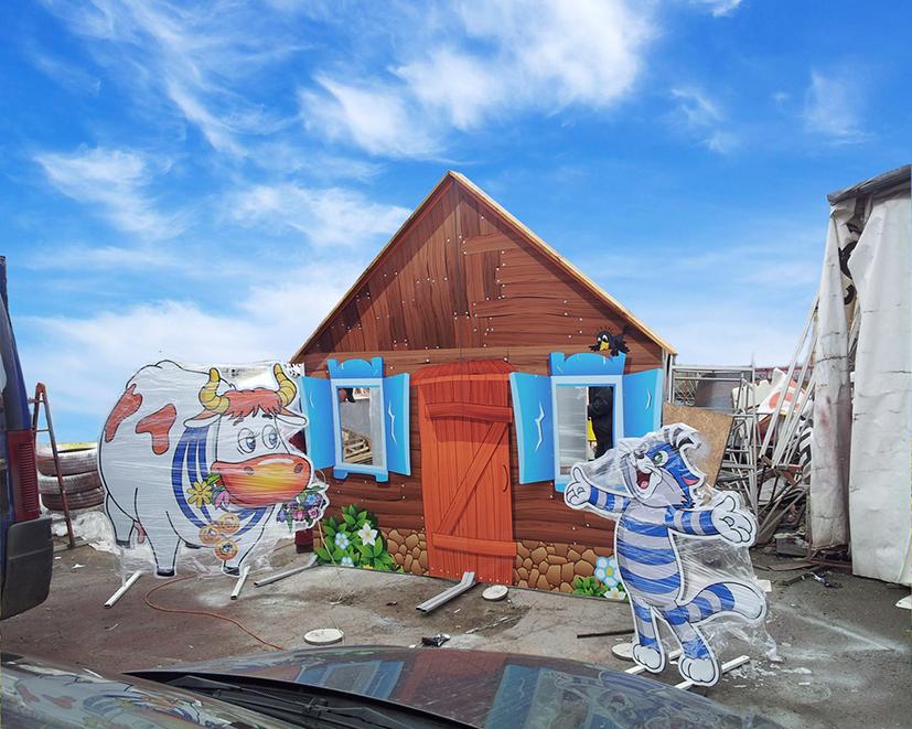 Ростові фігури персонажів з мультфільму Простоквашино, виготовлені на пластиковій основі з кольоровим друком та ламінацією.