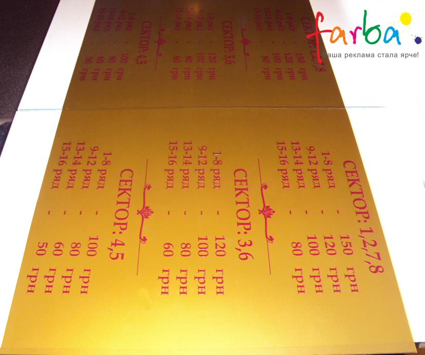 Пластикова інформаційна табличка з цінами, виготовлена за допомогою аплікації кольорової самоклеючої плівки Оракал двох кольорів.